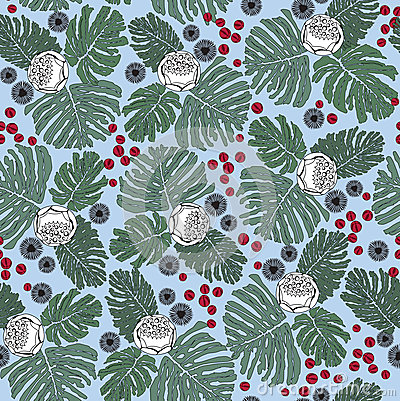 Seamless pattern with flowers and plant motif