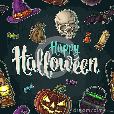 Free Seamless Pattern For Halloween Party. Vintage Color Engraving Royalty Free Stock Photos - 101120908