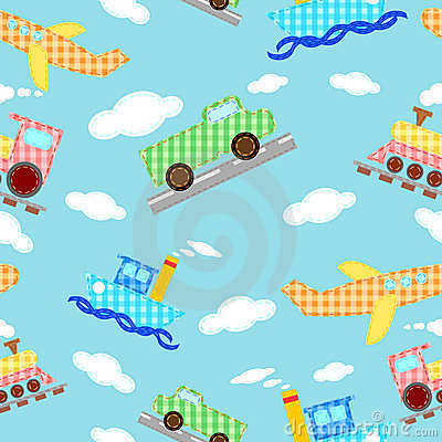 Seamless pattern four types of transport - vector