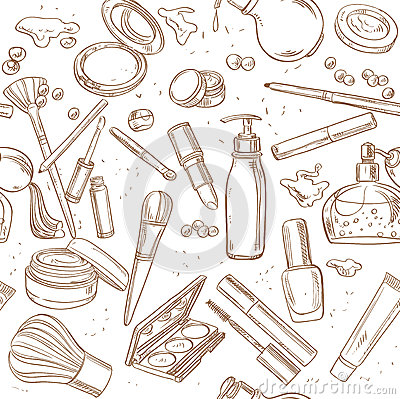 Free Seamless Pattern From Doodles Of Cosmetic Cream, Lipstick, Powde Royalty Free Stock Images - 41560949