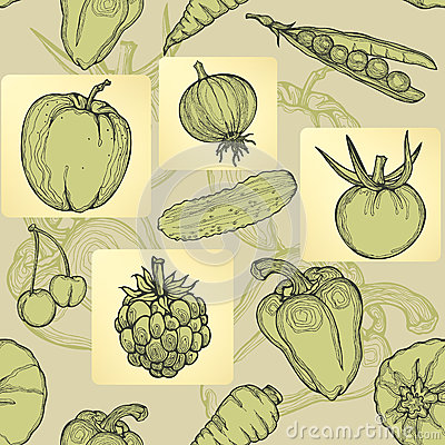 Seamless pattern of fruit, vegetables and berries.