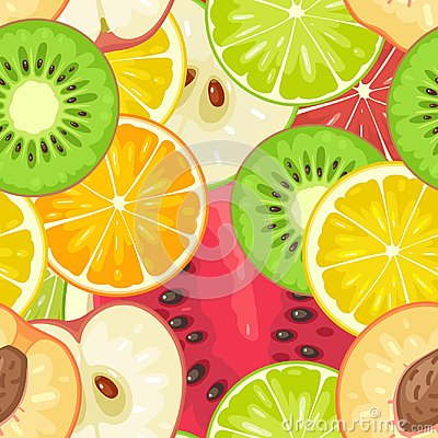 Free Seamless Pattern Fruits. Slice Apple, Kiwi, Peach, Lime, Lemon, Orange Stock Photo - 96313860