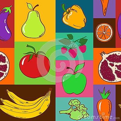 Seamless pattern of fruits and vegetables