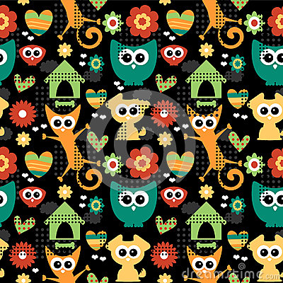 Seamless pattern with funny animals