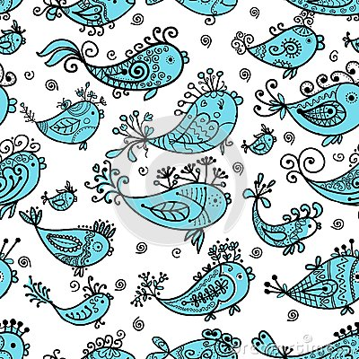 Seamless pattern with funny fishes for your design