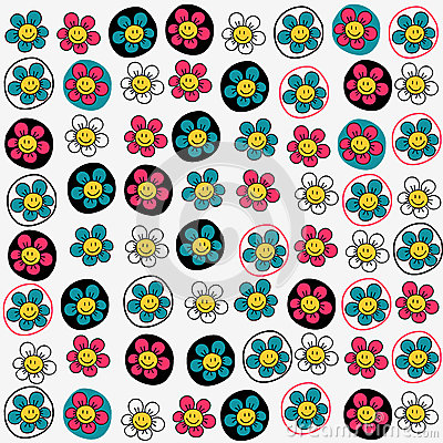 Seamless pattern with funny flowers