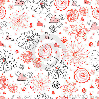 Seamless pattern of funny hearts