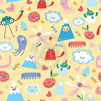 Seamless pattern from funny monsters