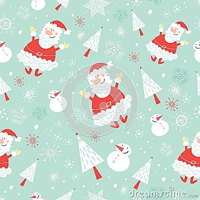 Seamless pattern funny santa claus