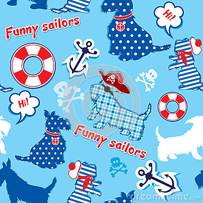 Seamless pattern with funny scottish terrier dogs