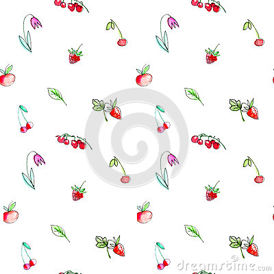 Seamless pattern with garden fruits and berries.Cherry, raspberry, currant, strawberry, apple and flower. Cartoon Illustration