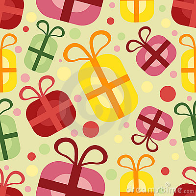 Seamless pattern with gift box