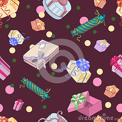 Seamless pattern with gift packages