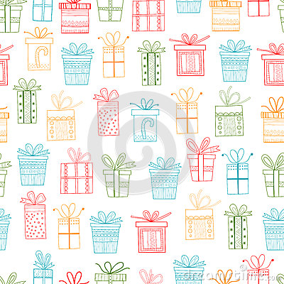 Seamless Pattern Of Gift Packages Christmas Gifts Stock