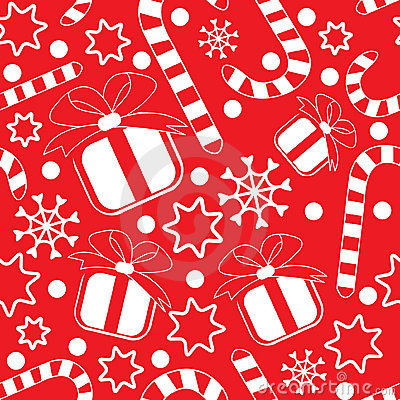 Seamless pattern with gifts and candy canes