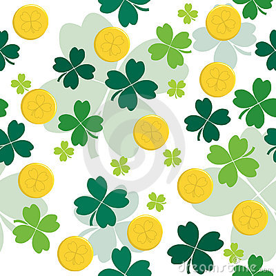 Seamless pattern with gold coins and clover leaves