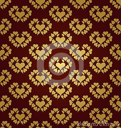 Seamless pattern. Gold hearts