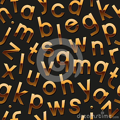 Seamless pattern with golden alphabet