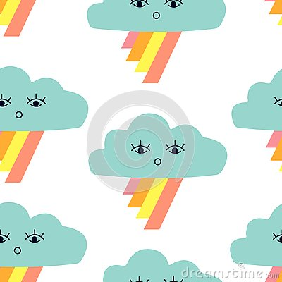 Seamless pattern with graphic cartoon clouds and rainbow. Vector Illustration