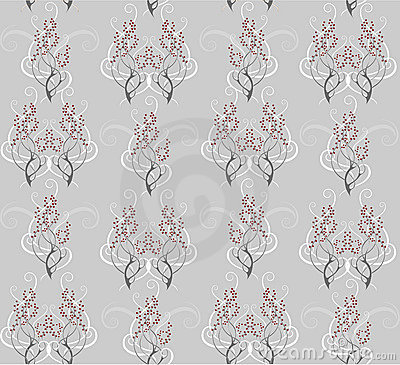 Seamless pattern of gray branches