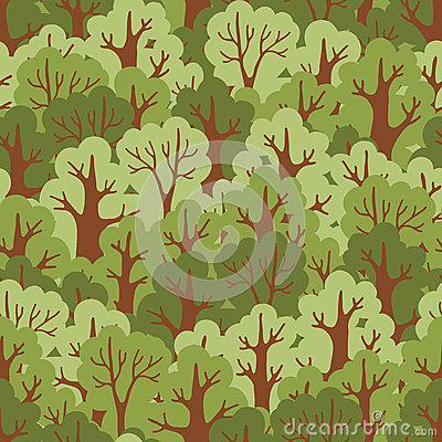Seamless pattern with green deciduous forest.