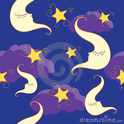 Seamless pattern with half moon and star