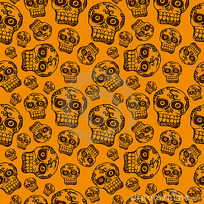 Seamless pattern with halloween skull