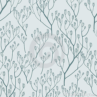 Seamless pattern with  hand drawn twigs