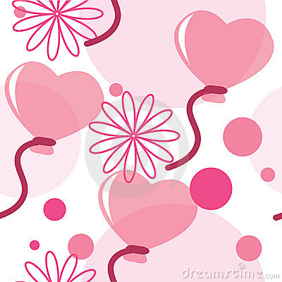Seamless pattern with heart-shaped balloons