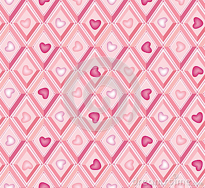 Free Seamless Pattern: Hearts And Pink Diamonds Stock Photography - 27462202