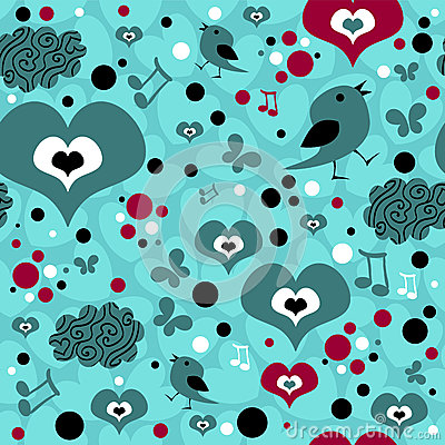 Seamless pattern with hearts and birds