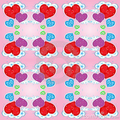 Seamless pattern with hearts and clouds