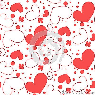 Seamless pattern of hearts Stock Photo