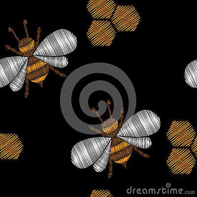 Seamless pattern with honey bee embroidery stitches imitation Vector Illustration