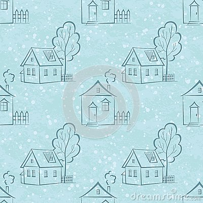 Seamless pattern, houses contours and trees