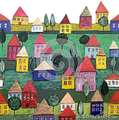 Seamless pattern, a housing estate.