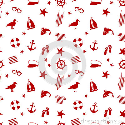 Seamless pattern. icon set in a marine style. accessories for a beach holiday. Vector Illustration
