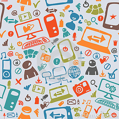Seamless pattern of the icons Vector Illustration