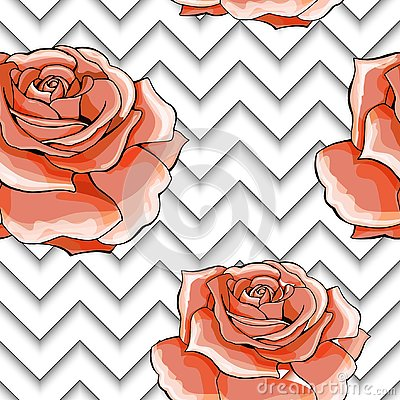 Seamless pattern with image pink rose flowers on a geometric background Vector Illustration