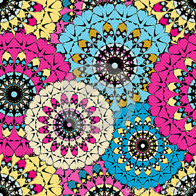 Free Seamless Pattern In Oriental Style Colorful Ornamental Background With Mandala Elements Islam Arabic Asian Motifs Royalty Free Stock Image - 67839056