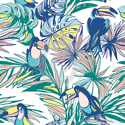 Free Seamless Pattern Ink Hand Drawn Tropical Palm Leaves, Flowers, Birds. Royalty Free Stock Photo - 88807125