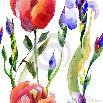 Seamless pattern with Iris and Tulip flower