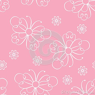 Seamless pattern with lace butterflies and flowers. Pink girly background. Vector Illustration