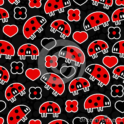 Seamless pattern with ladybirds