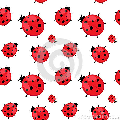 Seamless pattern with  ladybug isolated on white.