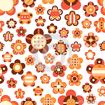Seamless pattern with large and small bright flowe