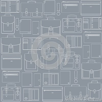 Seamless pattern with leather goods on the gray ba