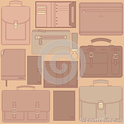Seamless pattern with leather goods