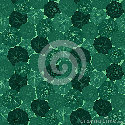 Seamless pattern with leaves of nasturtium