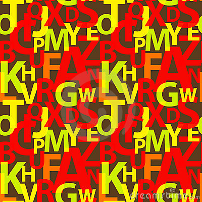 Seamless pattern with the letters